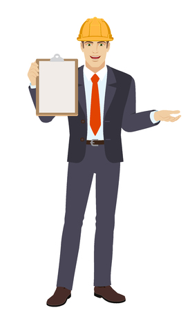 Businessman in construction helmet holding the clipboard and gesturing Illustration