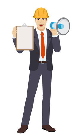 Businessman in construction helmet with loudspeaker holding the clipboard