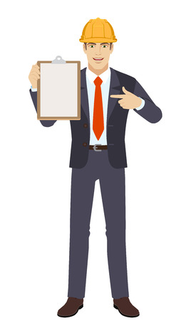 Businessman in construction helmet pointing at a clipboard Ilustração