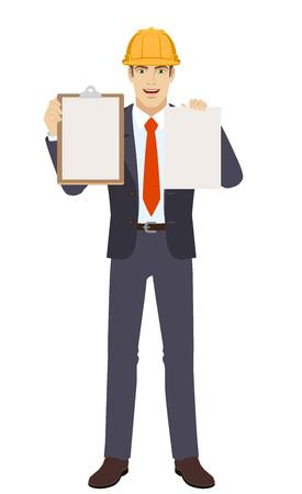 Empresario en casco de construcción sosteniendo el portapapeles y papel Ilustración de vector