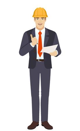 Businessman in construction helmet holding a pen and paper Ilustração