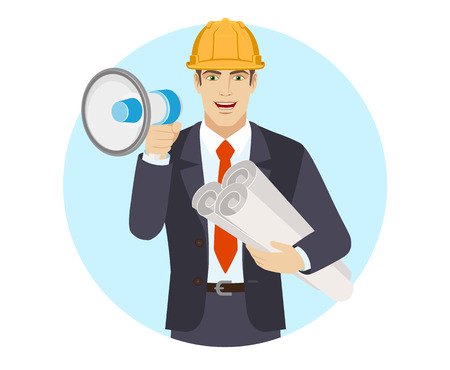 Businessman in construction helmet with loudspeaker holding the project plans. Portrait of businessman in a flat style. Vector illustration. Vector Illustratie