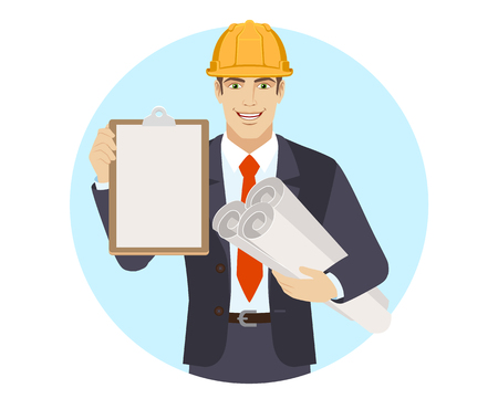 Businessman in construction helmet holding the project plans and clipboard. Portrait of businessman in a flat style. Vector illustration.