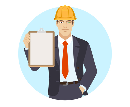 Businessman in construction helmet holding the clipboard. Portrait of businessman in a flat style. Vector illustration.