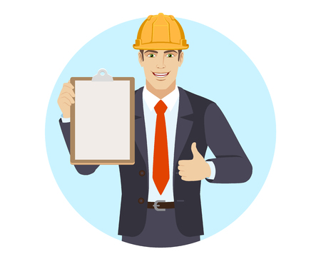 Businessman in construction helmet holding the clipboard and showing thumb up. Portrait of businessman in a flat style. Vector illustration.