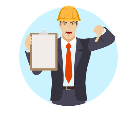 Businessman in construction helmet holding the clipboard showing thumb down gesture as rejection symbol. Portrait of businessman in a flat style. Vector illustration. Ilustração