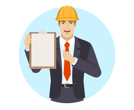 Self-promotion. Businessman in construction helmet holding the clipboard and pointing at himself. Portrait of businessman in a flat style. Vector illustration.