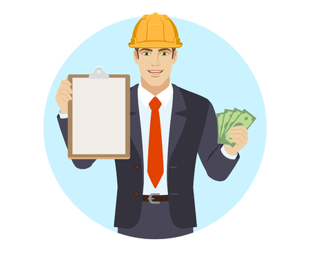 Businessman in construction helmet with money holding the clipboard. Portrait of businessman in a flat style. Vector illustration.