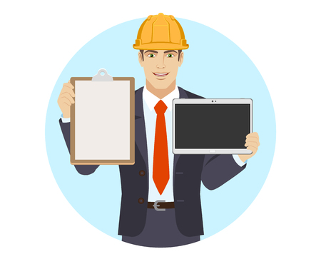 Businessman in construction helmet holding the clipboard and digital tablet PC. Portrait of businessman in a flat style. Vector illustration.