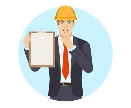 Businessman in construction helmet holding the clipboard and making hush sign. Portrait of businessman in a flat style. Vector illustration. Ilustração