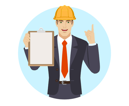 Businessman in construction helmet holding the clipboard and pointing up. Portrait of businessman in a flat style. Vector illustration.