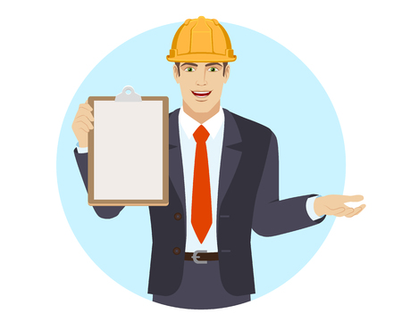 Businessman in construction helmet holding the clipboard and gesturing. Portrait of businessman in a flat style. Vector illustration.