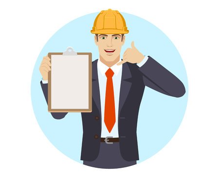 Businessman in construction helmet holding the clipboard and showing a call me sign. Portrait of businessman in a flat style. Vector illustration.