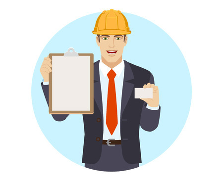 Businessman in construction helmet holding the clipboard and showing the business card. Portrait of businessman in a flat style. Vector illustration.