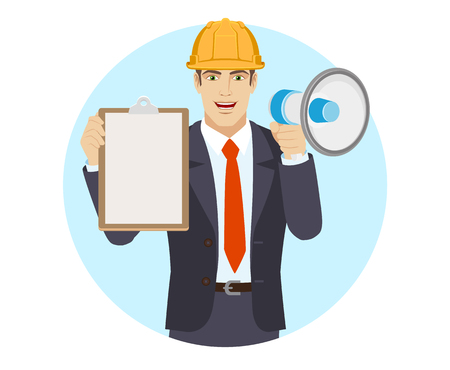 Businessman in construction helmet with loudspeaker holding the clipboard. Portrait of businessman in a flat style. Vector illustration.