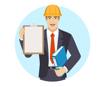 Businessman in construction helmet holding the clipboard and folder. Portrait of businessman in a flat style. Vector illustration.