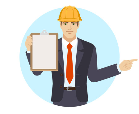 Businessman in construction helmet holding the clipboard and pointing something beside of him. Portrait of businessman in a flat style. Vector illustration.