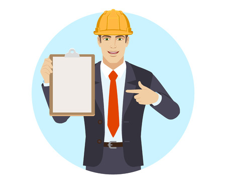 Businessman in construction helmet pointing at a clipboard. Portrait of businessman in a flat style. Vector illustration.