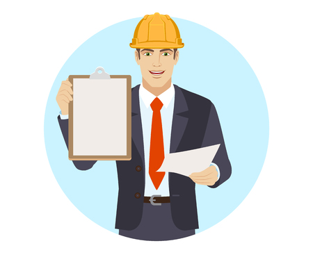 Businessman in construction helmet with paper holding the clipboard. Portrait of businessman in a flat style. Vector illustration.