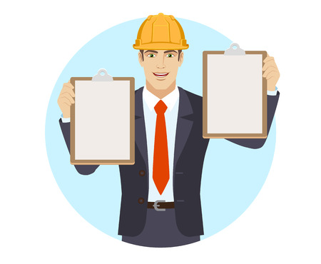 Businessman in construction helmet holding two clipboards. Portrait of businessman in a flat style. Vector illustration. Ilustração