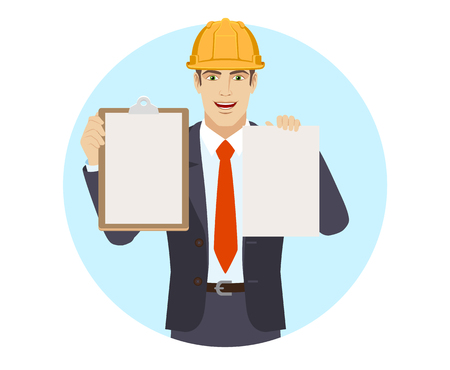Businessman in construction helmet holding the clipboard and paper. Portrait of businessman in a flat style. Vector illustration. Ilustração