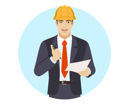 Businessman in construction helmet holding a pen and paper. Portrait of businessman in a flat style. Vector illustration.