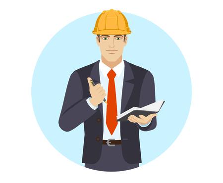 Businessman in construction helmet with pen and pocketbook. Portrait of businessman in a flat style. Vector illustration. Ilustração