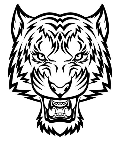 Testa di tigre. Questa è l'illustrazione vettoriale ideale per la grafica di logo, mascotte, tatuaggio o t-shirt. Logo