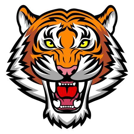 Cara de tigre enojado. Esta es una ilustración vectorial ideal para logotipo, mascota, tatuaje o gráfico de camiseta.