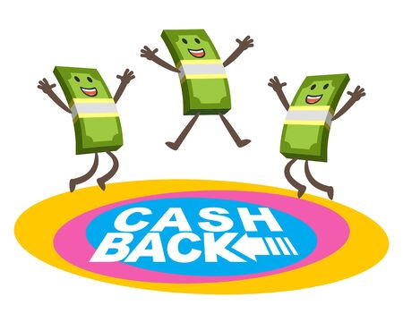 Happy money characters jumping on the trampoline. Cash back theme. Vector Illustration.