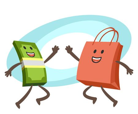 Give me high-five! Money character and shopping bag character giving high-five. Vector Illustration. Vector Illustration