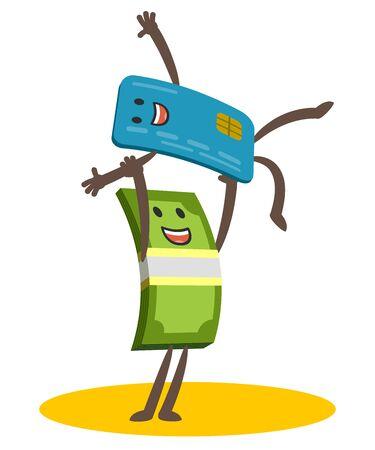 Lass uns tanzen! Geldcharakter und Kreditkartencharakter tanzen einen Comic-Tanz. Fröhliches Treffen. Vektor-Illustration.
