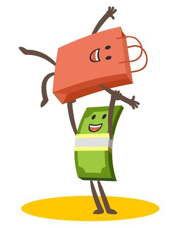 Let's dance! Money character and shopping bag character dancing a comic dance. Joyful meeting. Vector Illustration.