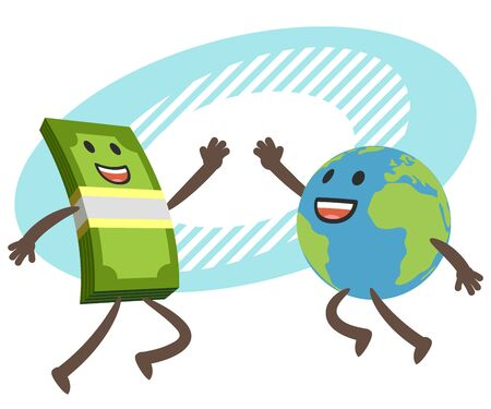 Give me high-five! Money character and planet character giving high-five. Vector Illustration. Ilustración de vector