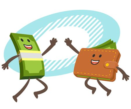Give me high-five! Money character and wallet character giving high-five. Vector Illustration.