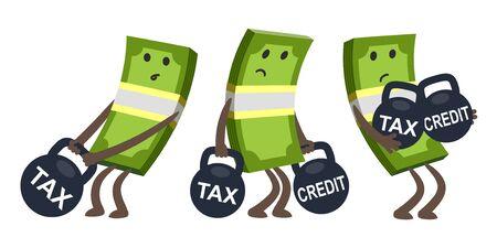 Personaggi tristi del denaro, piegati dal peso, mantenendo un peso enorme con la tassa. Tasse e concetto di onere creditizio. Illustrazione di vettore. Vettoriali