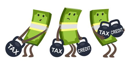 Sad money characters, bent from the weight, keeping a huge weight with the tax. Taxes and credit burden concept. Vector Illustration. Vetores