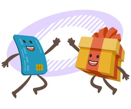 Give me high-five! Credit card character and gift box character giving high-five. Vector Illustration.