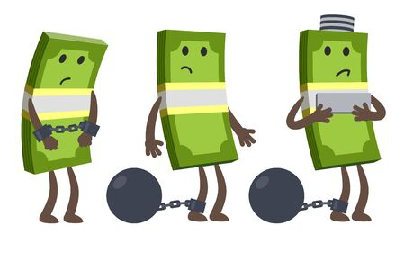 Money characters chained and shackled a iron prison ball. Criminal money, arrest of the account. Vector Illustration. Ilustração