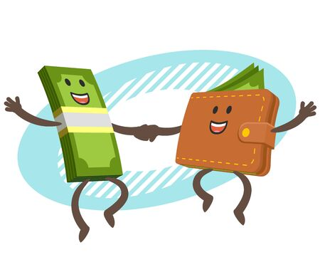 Lets dance! Money character and credit card character dancing. Joyful meeting. Sweet couple jumps holding hands. Vector Illustration. 向量圖像