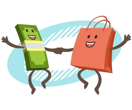 Let's go shopping! Money character and shopping bag character dancing. Joyful meeting. Sweet couple jumps holding hands. Vector Illustration.