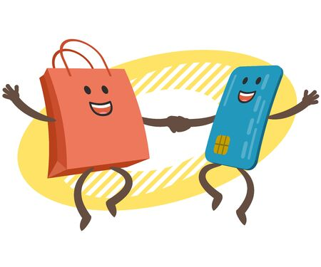 Let's go shopping! Money character and credit card character dancing. Joyful meeting. Sweet couple jumps holding hands. Vector Illustration.