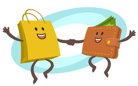 Let's go shopping! Wallet character and shopping bag character dancing. Joyful meeting. Sweet couple jumps holding hands. Vector Illustration.