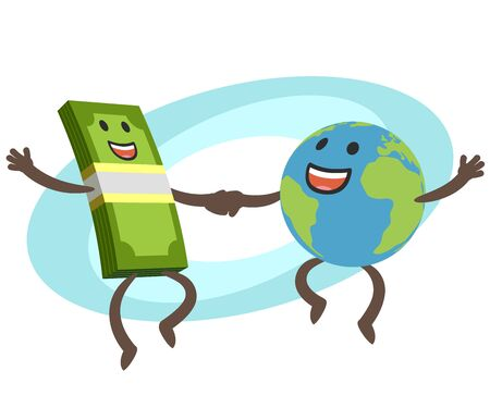 Money Character and Planet Earth Character dancing. Financial and commercial component of tourism. Travel business. Vector Illustration.