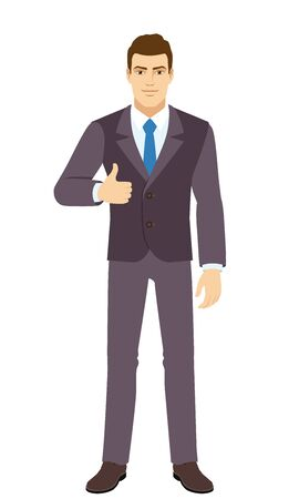 Smiling Businessman shows thumb up. Full length portrait of Businessman in a flat style. Vector illustration. Vettoriali