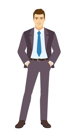 Smiling Businessman standing with hands in pockets. Full length portrait of Businessman in a flat style. Vector illustration.