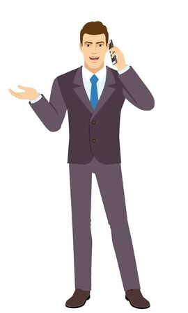 Smiling Businessman gesturing and talking on the mobile phone. Full length portrait of Businessman in a flat style. Vector illustration.
