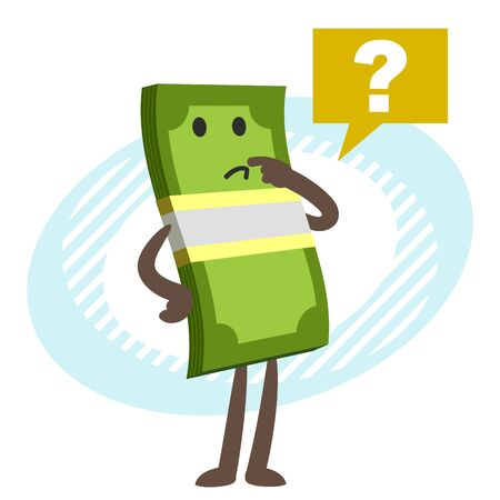 Money Character posing with question mark. Vector illustration.