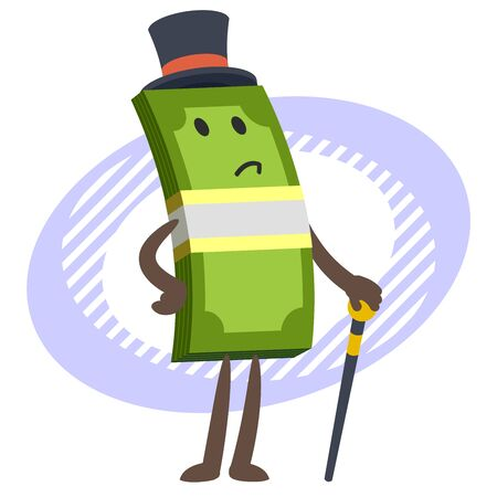 Money Character Capitalist in a top hat with a cane. Vector illustration.