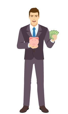 Smiling Businessman holding a piggy bank and showing a money. Full length portrait of Businessman in a flat style. Vector illustration. Vettoriali
